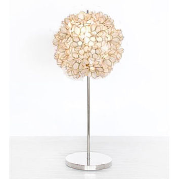 Nickel Mila Table Lamp in White
