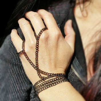 Hand wrap, Slave Bracelet, Chain Hand Wrap Most Excellent Gunmetal Jewelry