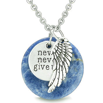"Angel Wing and Inspirational ""Never Never Give Up"" Amulet Sodalite Pendant 18 Inch Necklace"