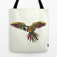 harlequin parrot cream Tote Bag by Sharon Turner