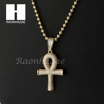 Iced Out Sterling Silver .925 AAA Lab Diamond ANKH Cross w/2.5mm Moon Chain S37