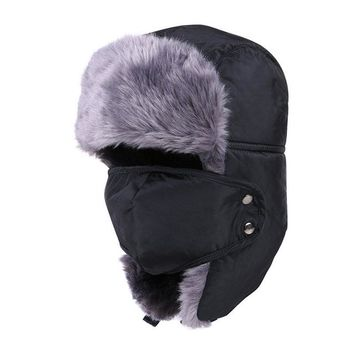 Tri-polar Unisex Winter Hiking Hunting Outdoor Bomber Hats Thicken Balaclava Cotton Fur Earflap, Thermal EAST2n Skull Mask