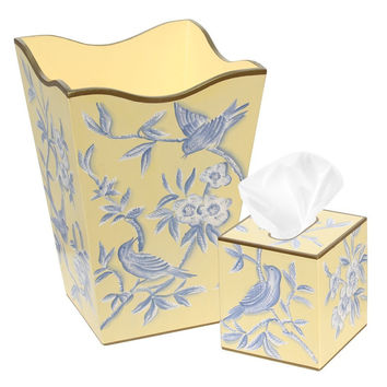 Allen G Designs Hand Painted Wooden Wastebasket and Tissue Box Set - Yellow and Blue Bird