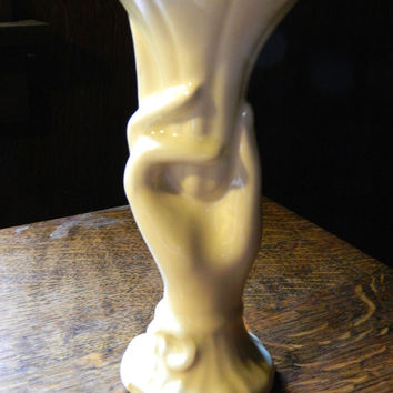 Mid-Century McCoy Pottery Hand Shaped Vase - Cream Glaze - Marked USA