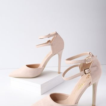 Emanuelle Blush Suede Ankle Strap Pumps