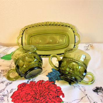 Tiffin Green Kings Crown Cream and Sugar with Tray, Indiana Glass Company Thumbprint Cream and Sugar Set, Green Creamer and Sugar Bowl