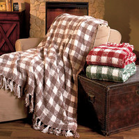 Cozy Gingham Knit Throws