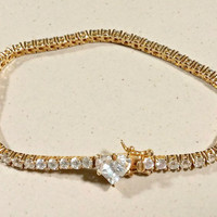 Estate Gold Tennis Bracelet Sterling Vermeil Gift for Her Sparkling Clear Cubic Zirconia Heart Clasp Crowd Pleasing Style Sweetheart Gift