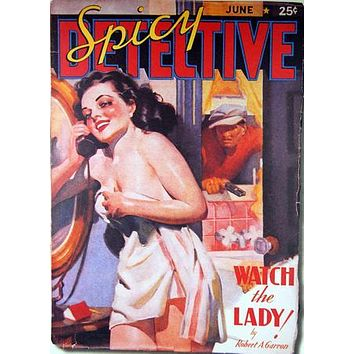 Pulp Fiction Art Spicy Detective Lady 11 inch x 17 inch poster