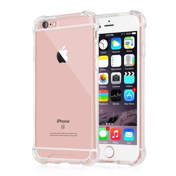 iPhone 6 Plus / 6s Plus Case, iXCC Crystal Cover Case [Shock Absorption] with Transparent Hard Plastic Back Plate and Soft TPU Gel Bumper - Clear