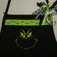 GRiNCH Kitchen Apron and Korker Ribbon Barrette GRinChy MoThers DaY GiFt! BeauTifuLYEAR RounD Design Perfect GifT for GriNCHy Lovin' Moms!!