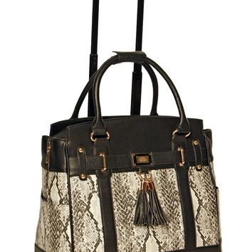 """THE FIRENZE"" Python and Alligator Rolling iPad, Tablet or Laptop Tote Briefcase or Carryall Bag"