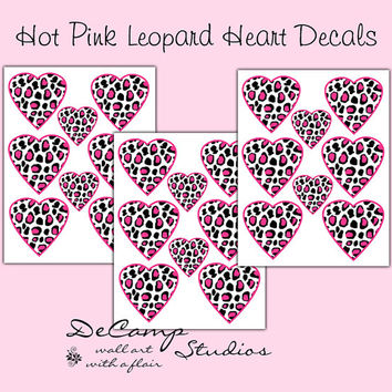 HOT PINK LEOPARD Print Heart Decals Teen Girls Bedroom Baby Nursery Kids Room Childrens Playroom Wall Art Stickers Geometric Jungle Decor