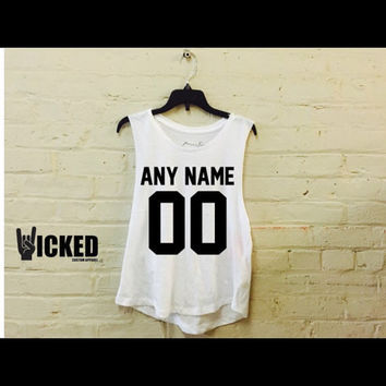 jersey styles Muscle tank !  Any name any number     available in black or white muscle tank or  your own name ! And birth year !