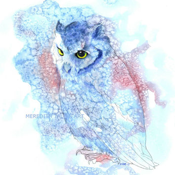 Owl print watercolor painting print Original watercolor 8x10 nursery art woodland theme nursery artwork blue pink red fanciful whimsical