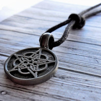 Wiccan Celtic Knot Pentacle Pendant On Silk Cord Necklace / Wicca Pagan Jewelry / Celtic Knot Necklace / Pewter Celtic Knot Necklace