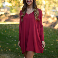 Long Sleeve Piko Dress - Burgundy
