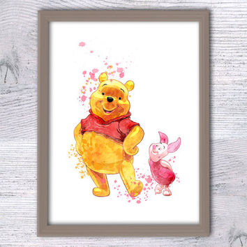 Winnie the Pooh Print, Pooh and Piglet, Nursery Art Print, Kids Watercolor Art, Bedroom Wall Decor, Animal Print, Winnie the Pooh Wall, V40
