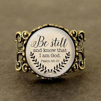 Bible Verse Be Still and Know That I am God Ring Psalm 46:10 Quote Jewelry Your Choice of gift mens new