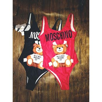 Moschino Fashion Women Beach Cute Bear Print Vest Style One Piece Bikini Swimsuit(2-Color) I/A