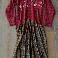 Fall Flannel Lace Jacket Dress Duster Romantic Shabby Country Girl Chic Boho Bohemian Gypsy Repurposed Flannel Shirt Lace Crochet Trim Women