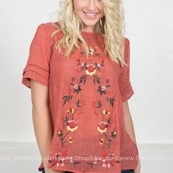 Southern Floral Embroidered Top | Salmon