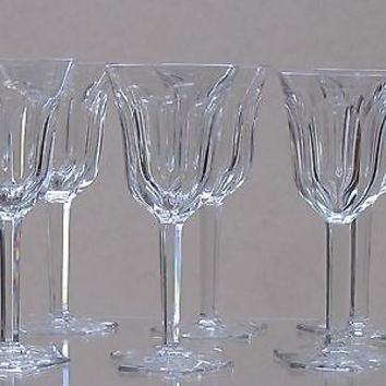 Cut glass wine glass with hand cut  fluted panel  6 pieces
