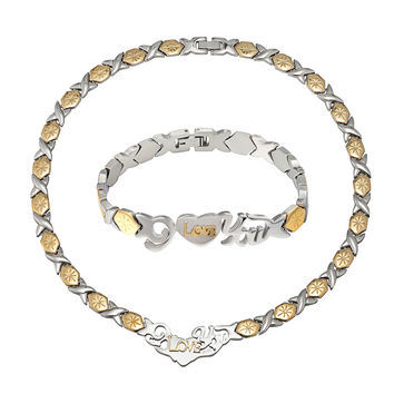 "Hugs And Kisses Necklace 18"" Stampato Bracelet 2 Tone Stainless Steel I Love you"