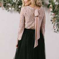 Haley Pink Bow Back Lace Top