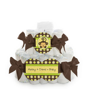 Monkey Neutral - Personalized Baby Shower Square Diaper Cakes - 2 Tier