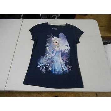 Disney Frozen Snowflake Snow Queen Girls' Graphic Tee, Navy, Size: Xl