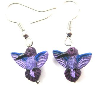 Purple Hummingbird Bird Shaped Porcelain Ceramic Animal Dangle Earrings | Handmade