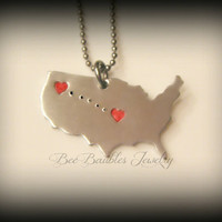 Hand Stamped Jewelry - Personalized Jewelry - Long Distance Lovers - Long Stance Realtionship