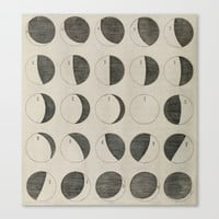 Antique Moon Phases Chart Canvas Print by Blue Specs Studio