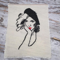 Unframed Finished Completed Cross Stitch . Retro Woman . Cross Stitch Sampler . Stylised Girl with Hat in Black and Red . Embroidery Art .