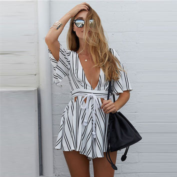 Beautiful Stripe Deep-V Short Jumpsuit