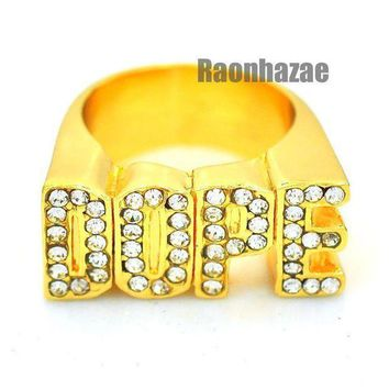 Hip Hop Fashion Iced Out Solid Chunky A$ap Dope Gold Plated Ring N003g