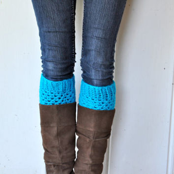 Crochet Boot Cuffs in Turquoise