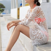 Whtie Crochet Lace Cover-up