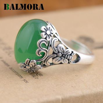 BALMORA Authentic 990 Pure Silver Vintage Flower Butterfly Green & Yellow Oval Rings for Women Lover Party Gifts Jewelry MN20759