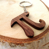 Wooden Pi Symbol, Mathematics Symbol Keychain, Nerd Gift Keychain, Friendly Green materials