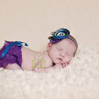 Peacock Lace Diaper Cover and Headband- Purple, Blue, Green, handmade Flowers, bloomers, newborn, baby girl, toddler, birthday, cake smash