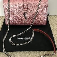 New Saint Laurent YSL Monogram Pink Glitter Flap Crossbody Bag Handbag $1690