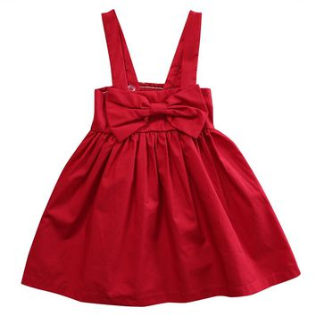 New Baby Christmas Dresses for Girls Newborn Infant Baby Girl Kid Red Sundress Bowknot Short Dress Outfit Princess Dresses 0-3Y