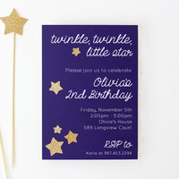 Twinkle Twinkle Little Star Birthday Invitation First Birthday Party Invites Gold Glitter Star Party Supplies Baby Shower Invitations 2nd
