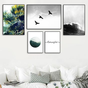 Palm Tree Forest Sea Wave Bird Landscape Wall Art Canvas Painting Nordic Posters And Prints Wall Pictures For Living Room Decor