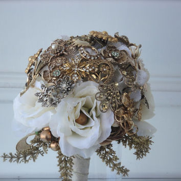 Vintage Antique Rhinestone Brooch Bouquet Gold tone faux Pearl Burlap Rustic cream white silk rose paper flower wedding bridal floral