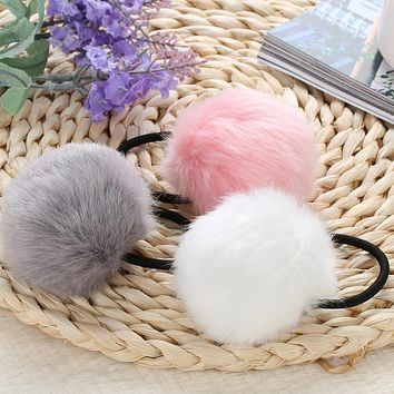 Korean Artificial Rabbit Fur Ball Elastic Hair Rope Rings Ties Bands Ponytail Holders Girls Hairband Headband Hair Accessories