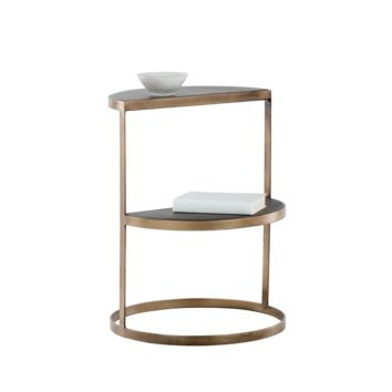 LUNAR ANTIQUE BRASS FRAME WITH GREY CONCRETE TOP END TABLE