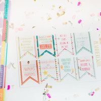 8 Mermaid Quote Planner Stickers - Perfect for Erin Condren Planner
